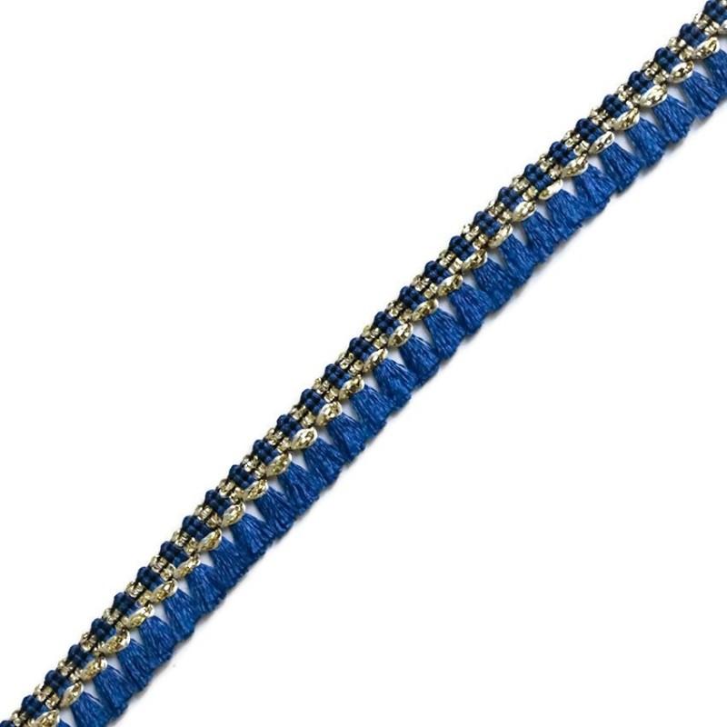 Galon de pampilles bleu marine et doré - 15 mm