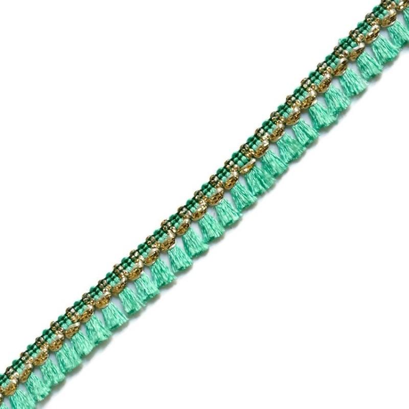Tassels ribbon sea green and golden - 15 mm