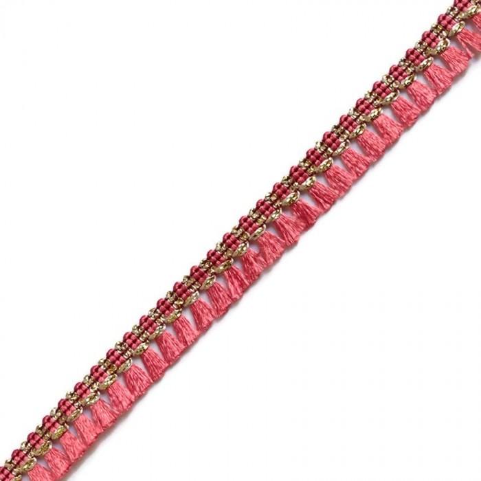 Cinta de flecos de color Coral - 15 mm