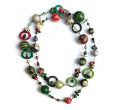 "Kit necklace ""Sautoir"" Kits necklace DIY - Sautoir - Black green babachic"
