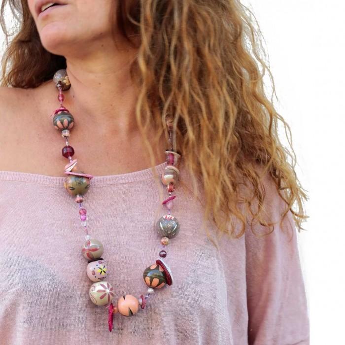 Kits Midshort necklace - Grey pink