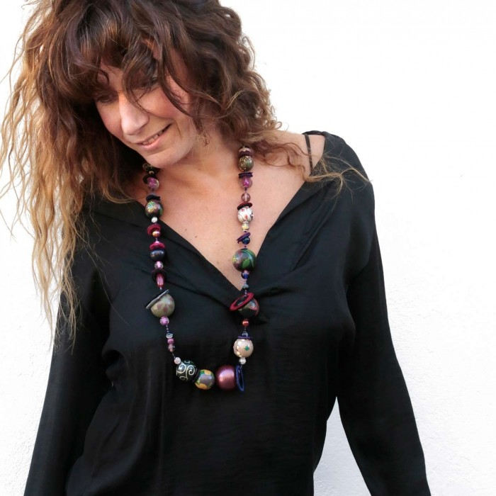 Kit Midshort necklace - Black purple