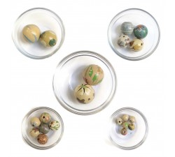 Assortment of wooden beads - Grey green