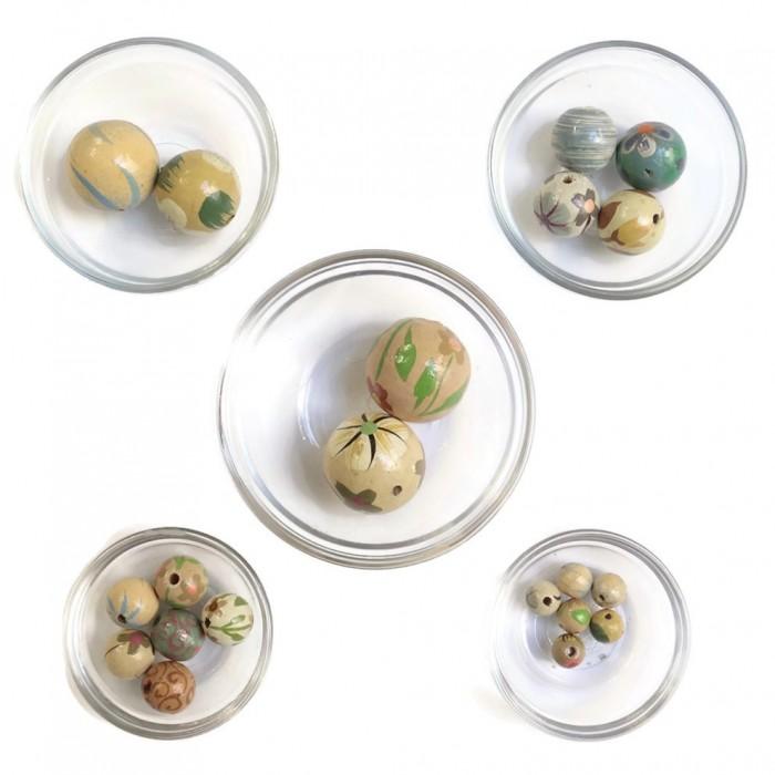 Assortiment de perles en bois - Gris vert