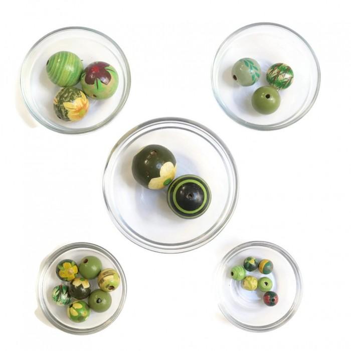Assortment of wooden beads - Green