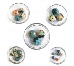 Assortiment de perles en bois - Bleu