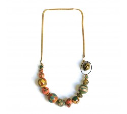 Short necklace with golden chain - Brown and salmon
