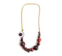 Collares Collier court en perles en bois et chaine dorée - Magenta Babachic by Moodywood