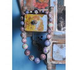 Inicio Collier court en perles en bois - Bleu et rose