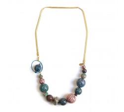Colliers Collier court en perles en bois et chaine dorée - Bleu rose Babachic by Moodywood