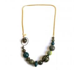 Colliers Collier court en perles en bois et chaine dorée - Bleu jaune Babachic by Moodywood