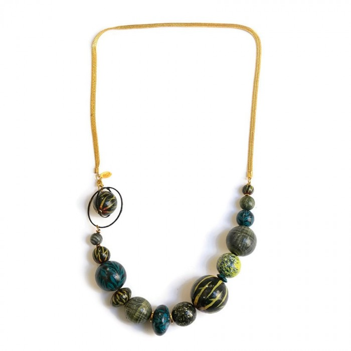 Short necklace with golden chain - Yellow blue