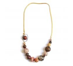 Colliers Collier court en perles en bois et chaine dorée - Marron Babachic by Moodywood