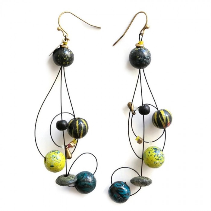 Long earrings with the shape of floor key  assembled on wire with wooden beads
