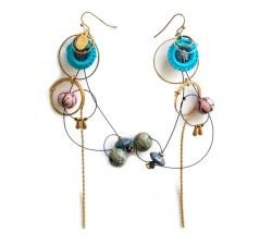Home Boucles d'oreille longues de style vintage bleu ciel et rose