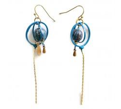 Home Boucles d'oreille longues fines - Bleue