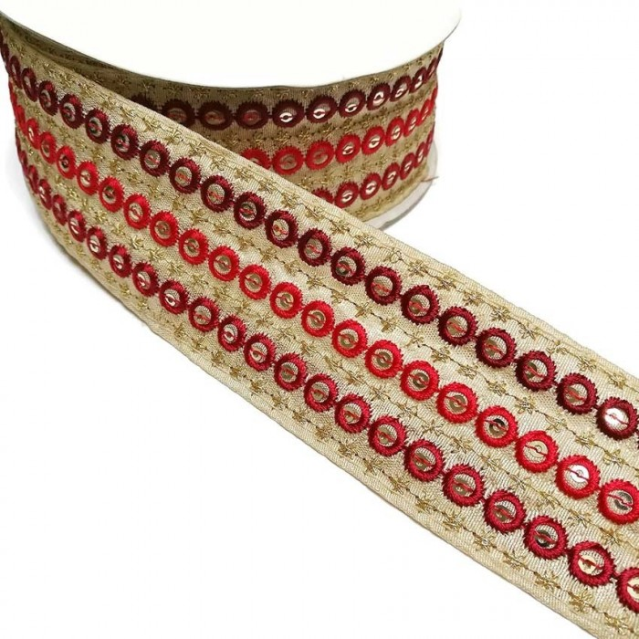 Graphic embroidery - Chain - Red - 45 mm