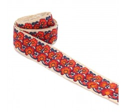 Embroidery Indian trimming - Duo - Orange - 45 mm babachic