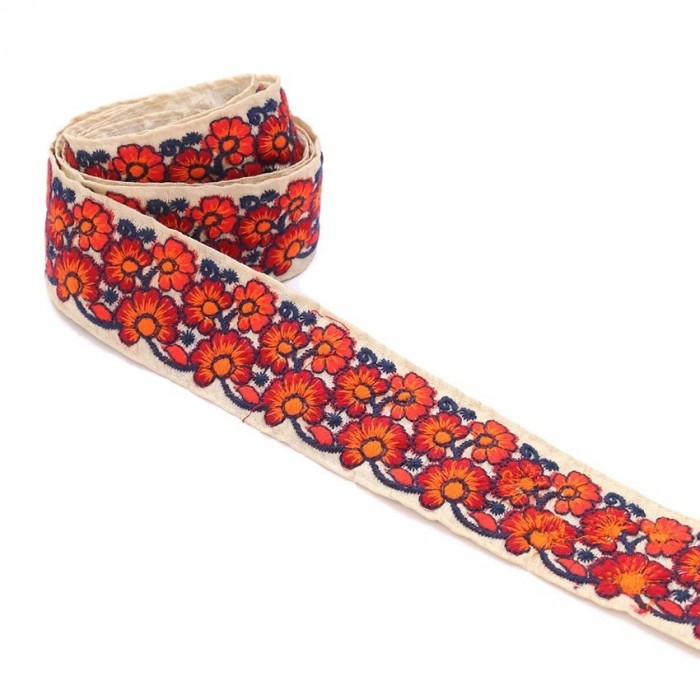Broderies Galon indien - Duo - Orange - 45 mm babachic