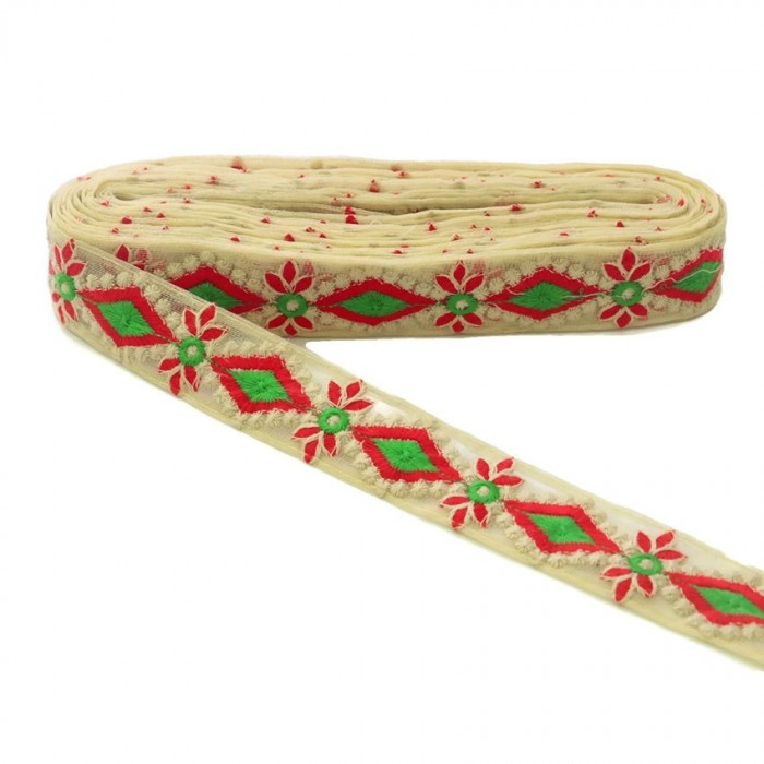 Embroidered tul - Red and green - 40mm