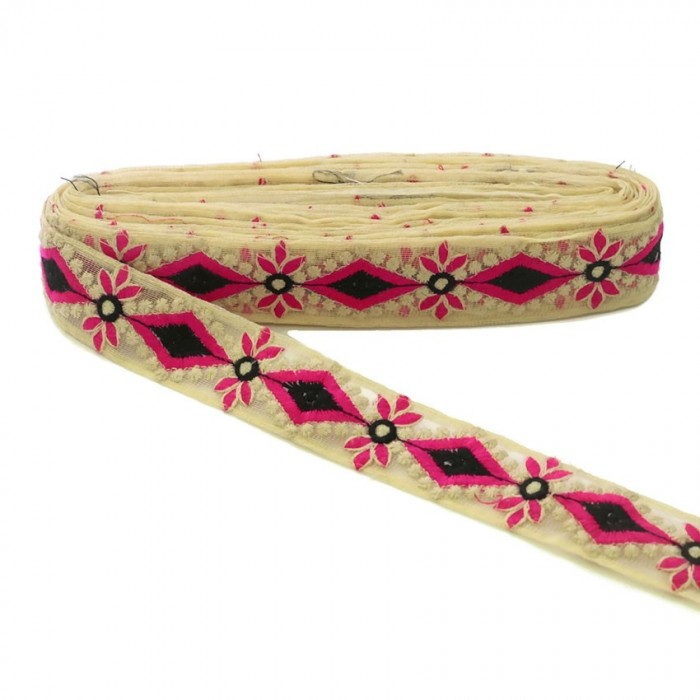 Embroidered tul - Pink and black - 40mm