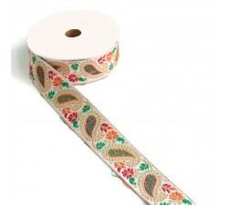 Embroidery Ribbon vintage - Red, orange and green - 35 mm