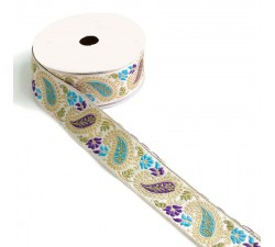 Embroidery Ribbon vintage - Purple and blue - 35 mm