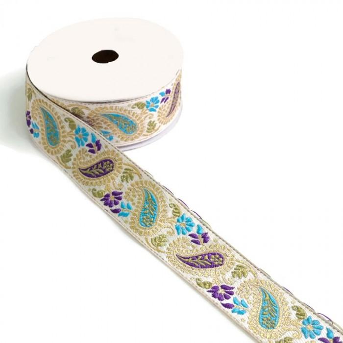 Ribbon vintage - Purple and blue - 35 mm