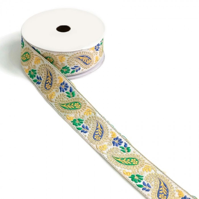 Ribbon vintage - Yellow, green and blue - 35 mm