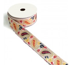 Embroidery Ribbon vintage - Yellow and red - 35 mm