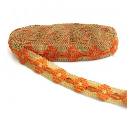 Broderies Ruban décoratif de jute bordé de ruban orange - 30 mm babachic