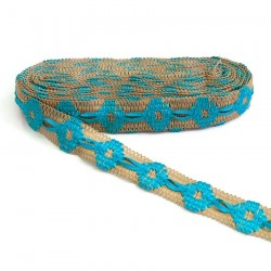 Embroidery Jute embroidered trimming with turquoise ribbon - 30 mm