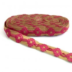 Broderies Ruban décoratif de jute bordé de ruban fushia - 30 mm