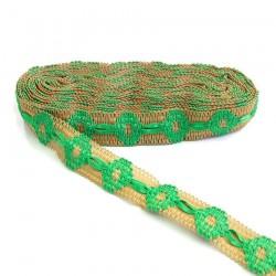 Bordado Cinta de jute decorada de cinta verde - 30 mm babachic