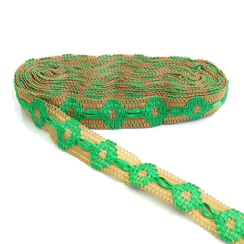 Jute embroidered trimming with green ribbon - 30 mm