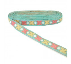 Embroidery Light blue ribbon lined with yellow and pink crosses - 28 mm babachic