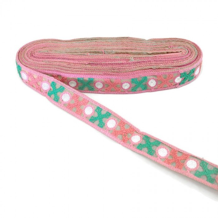 Pink embroidery with pink and green crosses - 28 mm
