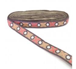 Bordado Cinta morado gris bordeada de cruces salmon y rosa - 28 mm babachic