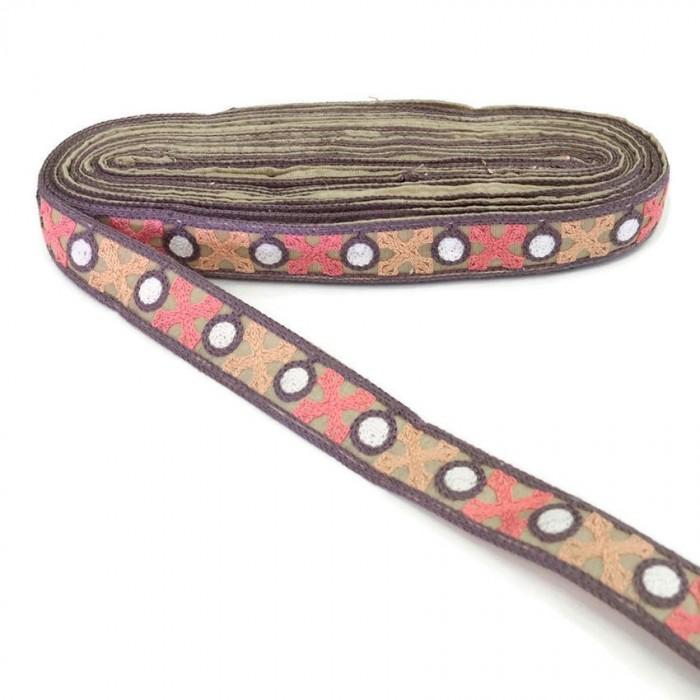 Cinta morado gris bordeada de cruces salmon y rosa - 28 mm