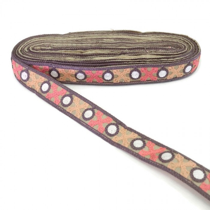 Lilac grey ribbon lined with pink and salmon crosses - 28 mm