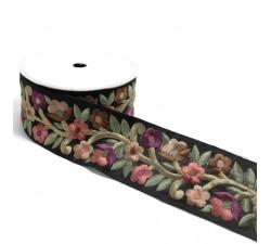 Bordado retro - Farándula de flores - Salmón, burdeos, marrón y negro - 60 mm