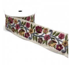 Embroidery Retro embroidery - Flower farandole - Burgundy, rosa, brown and white - 60 mm babachic