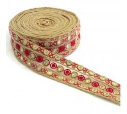 Bordado Tul bordada con lentejuelas - Rojo - 50 mm babachic