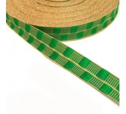 Cinta fina con cadrados verde y hilo dorado de lurex - 20 mm