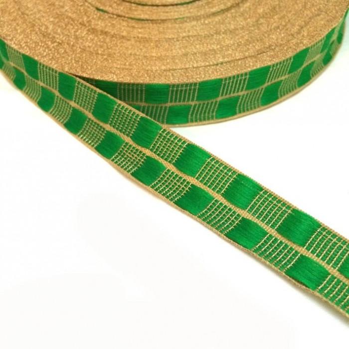 Ruban fin vert avec fil doré en lurex - 20 mm