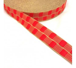 Red thin ribbon with gold lurex thread - 20 mm