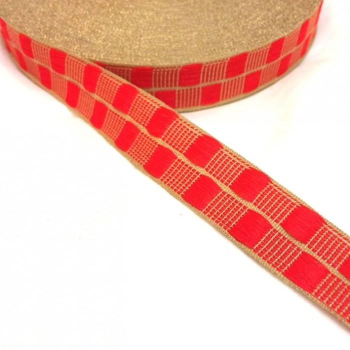 Ruban fin rouge avec fil doré en lurex - 20 mm