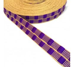 Ribbons Purple thin ribbon with gold lurex thread - 20 mm babachic