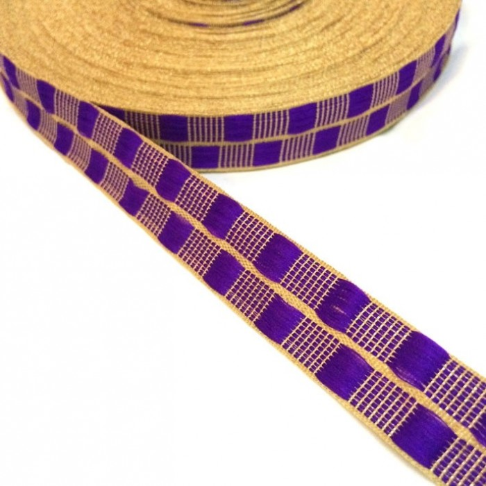 Ruban fin violet avec fil doré en lurex - 20 mm