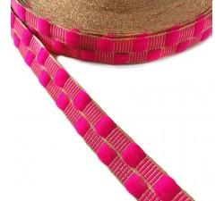 Cintas Cinta fina con cadrados rosa y hilo dorado de lurex - 20 mm
